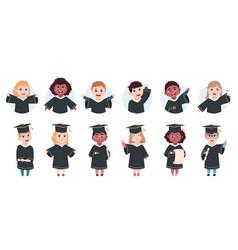 Happy graduation characters preschool graduates vector