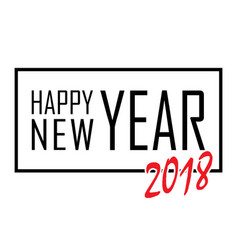 Happy new year text in frame black border and vector