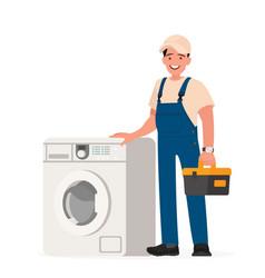 Happy repairman and washing machine vector