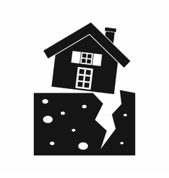 House after an earthquake icon simple style vector