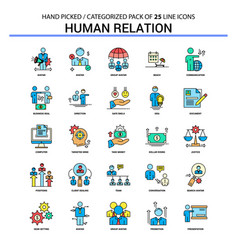 Human relation flat line icon set - business vector