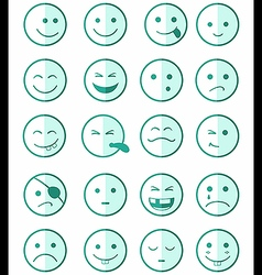 icons set 20 faces and characters green half vector image