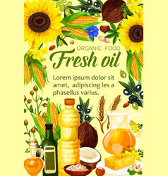 Ingredients of natural oil produce vector