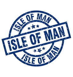 isle of man blue round grunge stamp vector image