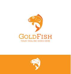 Jumping goldfish logo vector