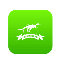 Jurassic raptor icon green vector