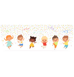 Kids anniversary happy childrens jumping in vector