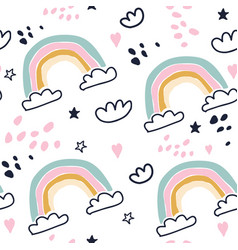 kids hand drawn seamless pattern with rainbows vector image