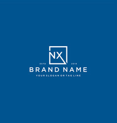 Letter nx with a square design vector