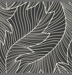 linear engraving banana leaves seamless pattern vector image