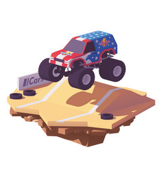 Low poly monster truck vector
