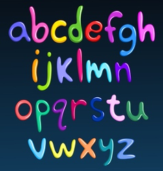 lower case colorful spaghetti alphabet vector image