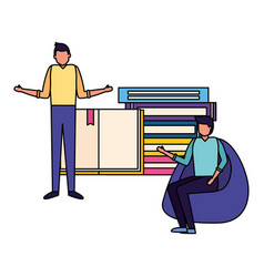 men with books stacked vector image