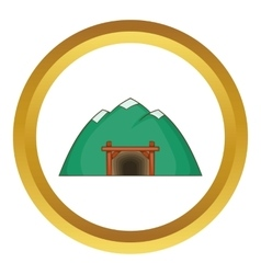 Mine in mountain icon vector