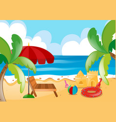 Nature scene with beach and ocean vector