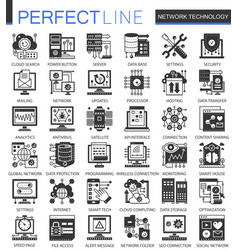 network technology black mini concept icons and vector image