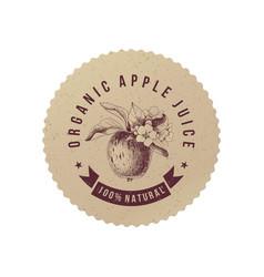 Organic apple juice paper emblem vector