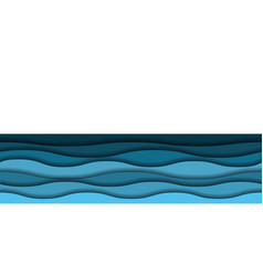 papercut sea waves background seamless pattern vector image