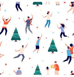 people celebrate christmas happy man woman girl vector image