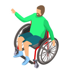 person disability in wheelchair icon isometric vector image