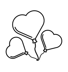 Pictogram three balloons form heart design vector