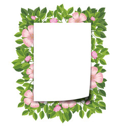 pink flower and leaf frame vector image