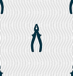 pliers icon sign Seamless pattern with geometric vector image