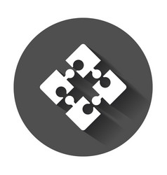 puzzle icon flat with long shadow vector image