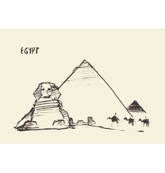 Pyramids Great Sphinx Giza Cairo Egypt vector