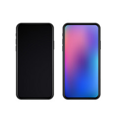 Realistic slim black smartphones vector