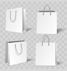 realistic white paper bag mockup vector image
