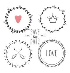 romantic set hand drawn wreaths vector image