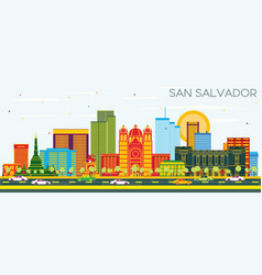 San salvador city skyline with color buildings vector