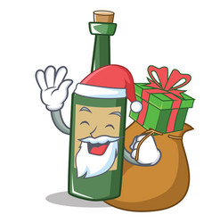 Santa with gift wine bottle character cartoon vector