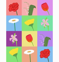 seamless pattern with cartoon flowers vector image