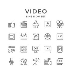 Set line icons video vector