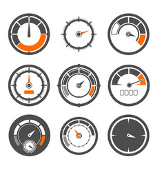 set of different speedometers vector image
