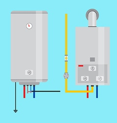 Set of gas water heater and electric water heater vector