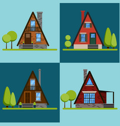 set of house icons or symbols vector image