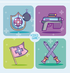 set of videogames icons vector image