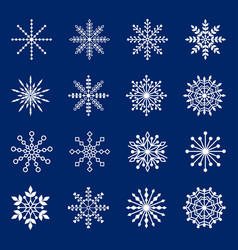 set snowflakes on blue background vector image