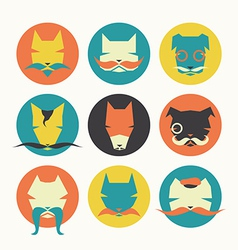 Set stylized animal avatar bright dogs vector