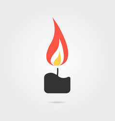 simple candle icon with shadow vector image