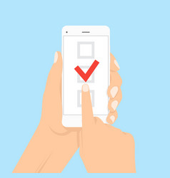 smartphone with checklist on screen vector image