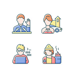 Social status type rgb color icons set vector