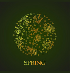 Spring thin line card vector