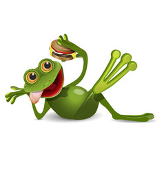 Stock frog lies with cheeseburger vector
