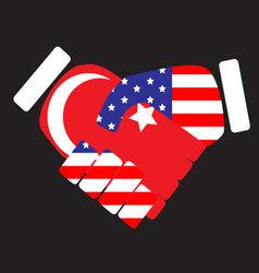 Symbol sign handshake USA and Turkey vector image