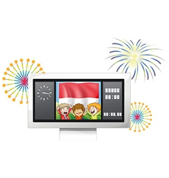 The flag of Indonesia with three kids inside a vector