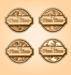 traditional italian food labels set vector image